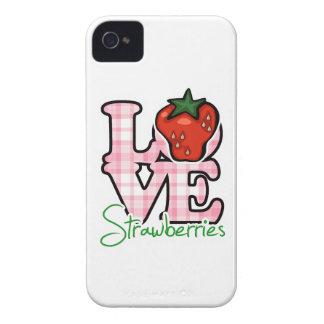Fresas del amor iPhone 4 Case-Mate cárcasa
