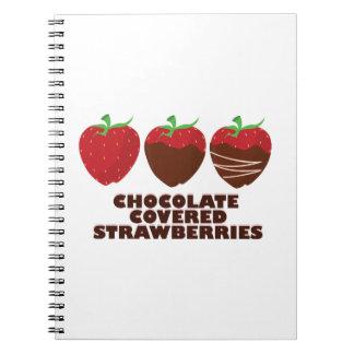 Fresas del chocolate libreta espiral