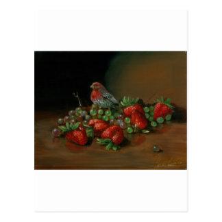 Fresas del pájaro y de la fruta del pinzón de la postal