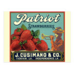 Fresas del patriota del arte de la etiqueta del tarjetas postales