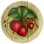 Fresas del verano plato de cerámica