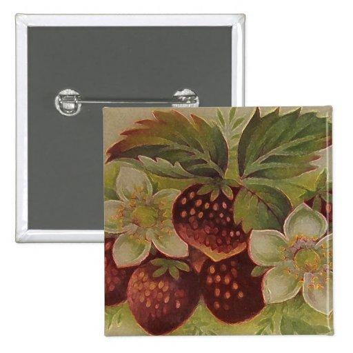 Fresas del vintage pin cuadrado