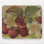 Fresas del vintage tapete de ratón