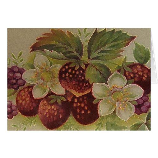 Fresas del vintage tarjeton