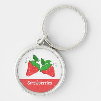 Fresas dulces llavero redondo plateado
