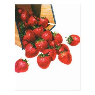 Fresas en cesta, bayas del vintage de la fruta de postales