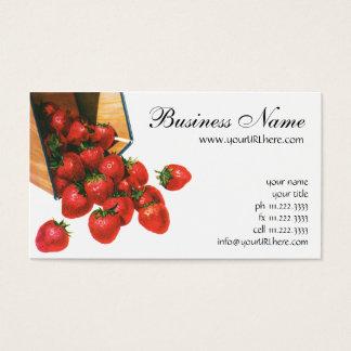Fresas en cesta, bayas del vintage de la fruta de tarjeta de negocios