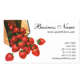 Fresas en cesta, bayas del vintage de la fruta de tarjetas de visita