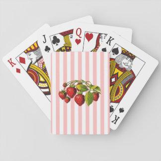 Fresas en rayas rosadas y blancas baraja de póquer