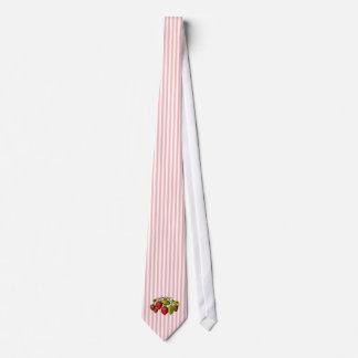Fresas en rayas rosadas y blancas corbata personalizada