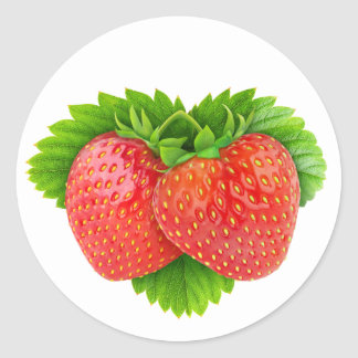 Fresas en una hoja pegatina redonda