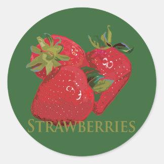 Fresas frescas del verano pegatina redonda