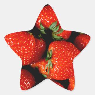 Fresas frescas calcomanías forma de estrella personalizadas