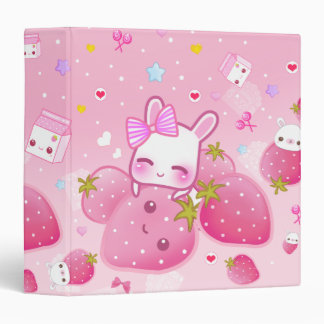 """Fresas lindas del conejito y del kawaii carpeta 1 1/2"""""""