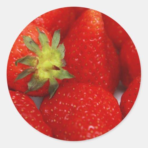 fresas pegatina redonda