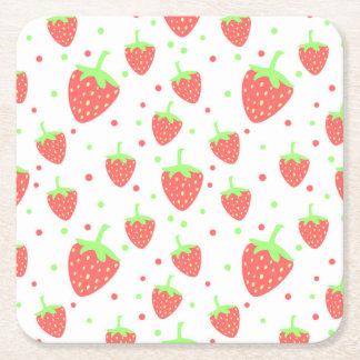 Fresas Posavasos De Cartón Cuadrado