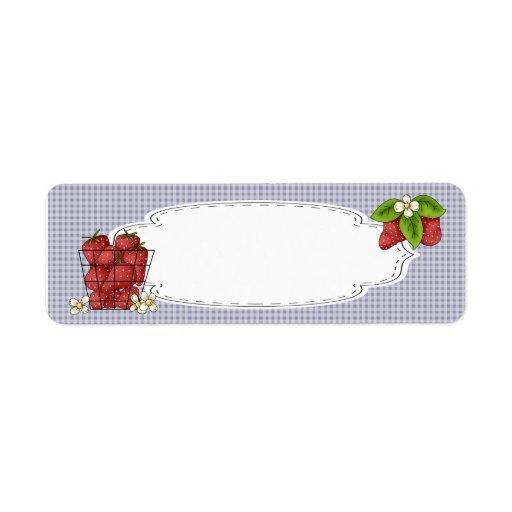 Fresas que conservan la etiqueta etiquetas de remite