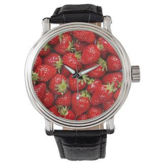 Fresas rojas frescas relojes de pulsera