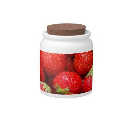 Fresas rojas tarro de cerámica para dulces