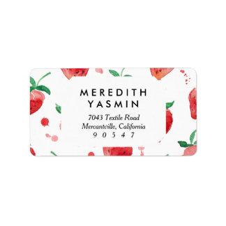 Fresas rosa y bayas pintadas rojo de la acuarela etiquetas de dirección