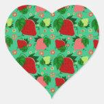 Fresas rosadas verdes rojas pegatina en forma de corazón