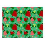 Fresas rosadas verdes rojas postales