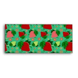 Fresas rosadas verdes rojas sobres