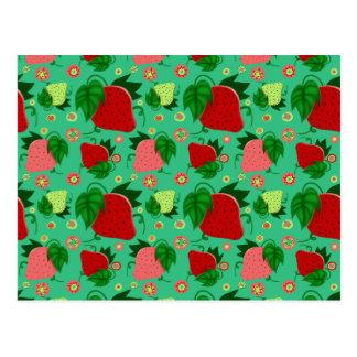 Fresas rosadas verdes rojas tarjetas postales