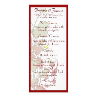 Fresas salvajes que casan el menú diseño de tarjeta publicitaria