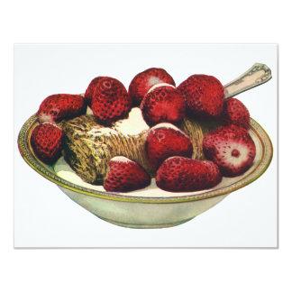 """Fresas sanas del cereal de desayuno de la comida invitación 4.25"""" x 5.5"""""""