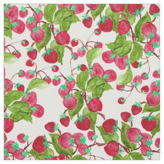 Fresas verdes rojas pintadas a mano de la acuarela telas