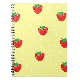 Fresas y amarillo de los lunares libreta espiral