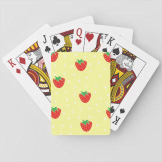 Fresas y amarillo de los lunares baraja de cartas