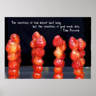 Fresas y cerezas escarchadas poster