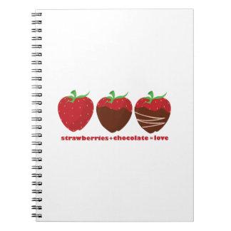 Fresas y chocolate libretas espirales