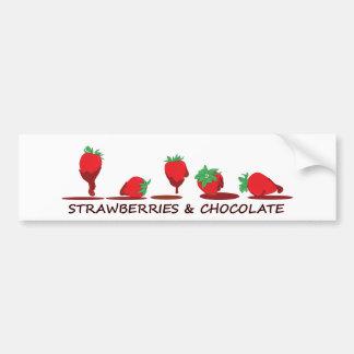 Fresas y chocolate pegatina para auto