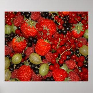 Fresas y frutas del verano póster