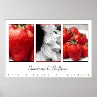 Fresas y girasoles poster