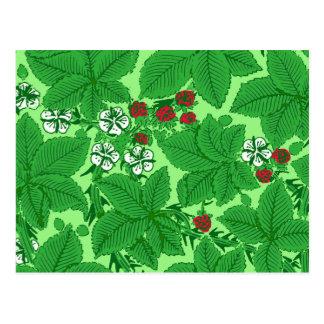 Fresas y hojas, verde lima de Nouveau del arte Tarjeta Postal