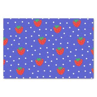 Fresas y lunares azul marino papel de seda pequeño