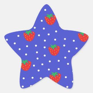 Fresas y lunares azul marino pegatina en forma de estrella