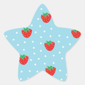 Fresas y lunares azules pegatina en forma de estrella