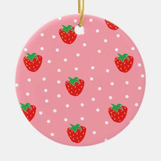 Fresas y rosa de los lunares adorno redondo de cerámica