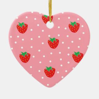 Fresas y rosa de los lunares adorno de cerámica en forma de corazón