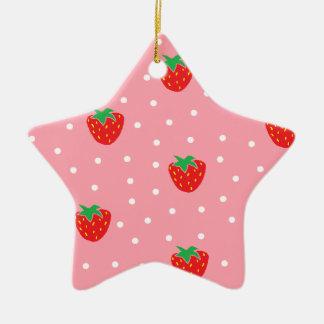 Fresas y rosa de los lunares adorno de cerámica en forma de estrella