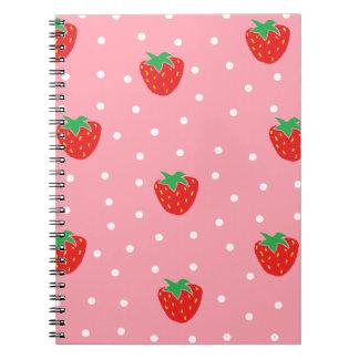 Fresas y rosa de los lunares libros de apuntes con espiral