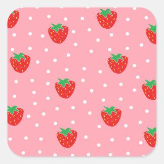 Fresas y rosa de los lunares pegatina cuadrada