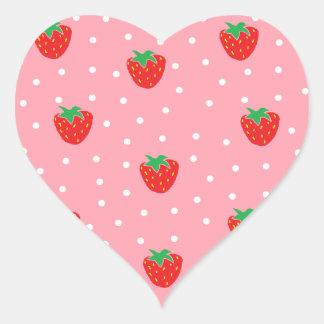 Fresas y rosa de los lunares pegatina en forma de corazón