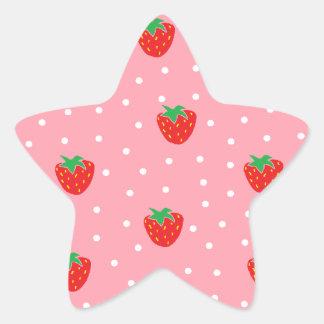 Fresas y rosa de los lunares pegatina en forma de estrella