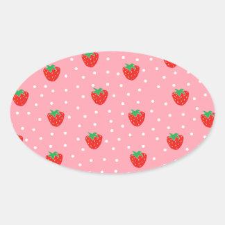 Fresas y rosa de los lunares pegatina ovalada